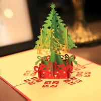 ingrosso 3d albero di schede pop up-2017 1pc Buon Natale Vintage albero 3D tagliato al laser pop-up di carta fatti a mano biglietti di auguri personalizzati souvenir cartoline regali di Natale