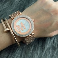 Wholesale m watch brands - Fashion M design Brand women's Girl crystal Dial Stainless steel band Quartz Watch M44