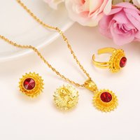 Wholesale golden chain set - Bangrui small size women Ethiopian jewelry sets Gold Color rhinestone earrings ring pendant chain jewelry sets