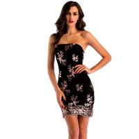 Wholesale Hot Night Club Clothes - Hot Sale Summer Lace Strapless Backless Sexy Bodycon Dress Sheath Column Sleeveless Party Dress Skirt Piping Sequins Women Clothing Sundress