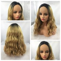Wholesale Cheap Synthetic Two Tone Wigs - Top Selling Two Tones 1b 27# Ombre Blonde Curly Wavy Long Wigs Cheap Heat Resistant Glueless Synthetic Lace Front Wigs for Black Women