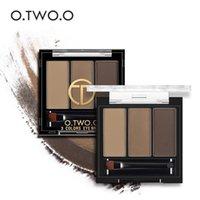 polvo de la frente de las mujeres al por mayor-O.TWO.O 3 colores en 1 Waterproof Eye Shadow Eyebrow Powder Make Up Palette Mujeres Beauty Cosmetic Eye Brow Makeup Kit Set