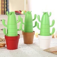 Wholesale personality pieces - 4 Pieces  Set Stackable Cactus Plant Mugs Set For Coffee Or Tea Creative Home Mugs Cute Southwestern Decor Coffee Mug