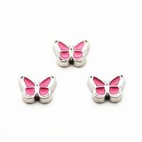 ingrosso scivolo farfalla per braccialetto-I più nuovi 50pcs / lot fascini di galleggiamento della farfalla rosa adattano il medaglione di galleggiamento medaglioni galleggianti del braccialetto accessorio dei monili di fascini di DIY