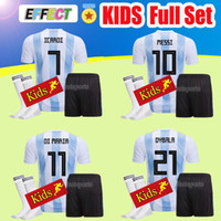 Wholesale Kids Football Uniforms Set - Argentina kids 2018 Soccer Jersey Argentina BOYS full Sets Jersey Home With Socks DYBALA Messi Aguero Di Maria Child football uniform Shirt