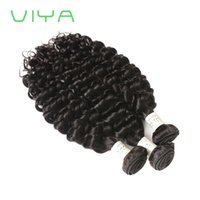 Wholesale french weaving - VIYA Malaysian French Curly Hair Weave Human Hair Thick Virgin Hair Bundles 3 Pieces Natural Black Color Can Be Dyed