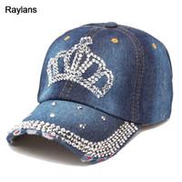 Venta al por mayor de Rhinestone Denim Hats Gorras De Beisbol ... 4a8413b0cc50