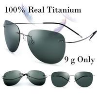 Wholesale memory boy - 100% Real Titanium No Screw Men Male Rimless Sunglasses Women Ultralight Memory Polarized Mirror Sun Glasses Oculos Silhouett