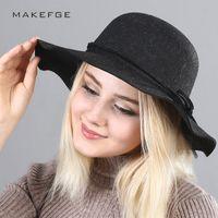 AIWOSHOW 2017 Brand Fedora Vintage Hat Wedding Hats For Women Elegant British  Style Bow tie Bowler Hats Autumn Fedoras 0b61d271a80