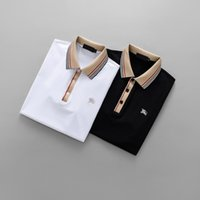 Wholesale Men S Slim Formal Shirts - 2018 Men's Polo Short-Sleeves embroidery designer 3D Burbe Brand Luxury polo short T-shirts lapel Tees Formal Shirt for man Slim M-3XL