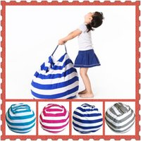 Wholesale Kids Room Decorative - 4 Colors Striped Storage Bean Bags Kids Plush Toys Beanbag Chair Bedroom Stuffed Animal Room Mats Portable Clothes Storage Bag CCA8844 60pcs