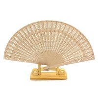Wholesale art favors for sale - 8 Inches Imitation Sandalwood Folding Fan With Scented Wood Silk Hand Wood Fans For Bride Cheap Wedding Favors Hot Sale xf BB