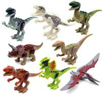 Wholesale Plastic Animal Figures Set - 8pcs lot Jurrassic World Jurassic dinosaur Figures for kids Animal Building Blocks Sets Model Toys