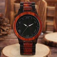 Wholesale Number Acrylic Watch - Top Luxury Brand Men's Watches Natural Handmade Wood Wristwatch Full Bamboo Roman Numbers Quartz Hour Male Sports Gift 2018