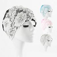 moda maiô venda por atacado-Moda New Chapéu de Banho Das Mulheres Ampliar À Prova D 'Água Designer de Rendas Touca de Natação Da Praia Ao Ar Livre Equipamentos de Esportes Aquáticos Venda Quente 11dh Ww