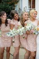 Wholesale short sleeve open back wedding dress online - 2018 Pink Lace Short Bridesmaid Dresses for Country Weddings Jewel Neckline Open Back Capped Sleeves Custom Made Elegant Wedding Guests