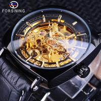 квадратные мужские часы механические оптовых-Forsining 2018 Black Golden Watches Unique Square Dial Waterproof Mens Mechanical Skeleton Watches Top  Male Clock