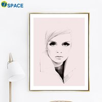 Wholesale picture sketches -  Canvas Painting Sketch Girl Nordic Posters And Prints Wall Art Canvas Prints Pop Art Wall Pictures For Living Room Decor