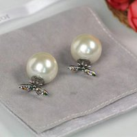 Wholesale nice friends - Charming Luxury Design Women Earrings Gold Plated AAA CZ Bee Pearl Earrings for Girls Women for Party Wedding Nice Gift for Girl Friend