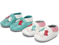 новые кожаные ботинки оптовых-New Baby Shoes Animal Printing Bird Style Genuine Leather Shoes for Boys Girls Soft Sole 0-24M Baby Footwear Crib