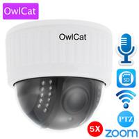 kamera sd ir ip toptan satış-OwlCat Beyaz 1080 P Full HD Kapalı WiFi PTZ IP Dome Kamera 5x Zoom Kablosuz Video Gözetim CCTV Ses MIC SD IR Gece Onvif