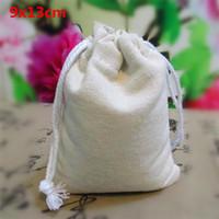 "Wholesale coffee bean packaging bags - Natural Cotton Drawstring Packaging Bags for coffee bean Favors Christmas Gift bag Rustic Folk Wholesale 50pcs 10x13cm 4x5"""