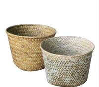 Wholesale wicker storage boxes resale online - Rattan Grass Storage Basket Handmade Sundries Organizer Plant Box Wicker Baskets Garden Nursery Flower Pots Home Decoration