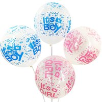 """Wholesale baby balloon decorations - 20pcs lot 12 Inch """"Its a Boy"""" """"Its a Girl""""Clear blue boy Clear pink Latex Balloons For Baby Shower Party Kid's Birthady Decoration Supplies"""