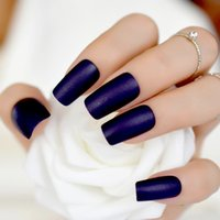 ingrosso chiodi blu colla-Donna Frost Press On Nails Midnight Blue Colore Medio opaco fai-da-te acrilico falso uso di unghie senza colla strumento adesivo 264M