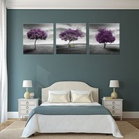 Wholesale Purple Picture Frames - 3 Panles PurpleTree Canvas Painting Wall Art Painting Prairie Purple Tree Paintings with Wooden Framed For Home Decor Ready to Hang Gifts