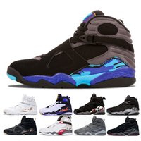 Wholesale aqua basketball - 2018 New 8 basketball shoes Aqua Chrome countdown pack Playoff 3Peat 8s sports sneakers trainers Size 8-13