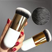 Wholesale plastic bb - New Chubby Pier Foundation Brush Flat Cream Makeup Brushes Professional Cosmetic Make-up Brush Portable BB Flat Cream free ship