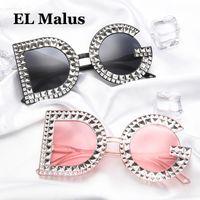 ingrosso occhiali da sole diamanti designer-[EL Malus] Retro DG Occhiali da sole con diamante simulato Donna Femminile Designer di marca Tan Pink Lens Vintage Occhiali da sole SG305