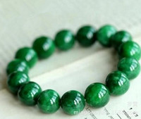 Wholesale 14mm copper beads resale online - 14MM Natural Jade Dry Green Bead Bracelet Full Color Iron Dragon Jade Bead Various Size Beads Female Bracelet