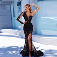 vestido de noche de manga larga al por mayor-Sexy Illusion Black Mermaid Vestidos de noche Single Long Sleeves Appliques Tulle Side Split Vestidos de baile Formal Vestidos de noche con hendidura