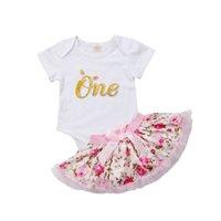 ingrosso pagliaccetto di compleanno della bambina-Moda neonato neonate bianco manica corta in cotone compleanno floreale pagliaccetto tutu gonna abito abiti estivi