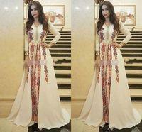 vestidos bordados de dubai al por mayor-Nuevos vestidos de noche de Kaftan Caftan marroquí Increíble bordado Escote en v Ocasión Ocasión Vestido de fiesta de manga larga árabe de Dubai Abaya