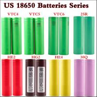 ingrosso batterie di qualità-100% di alta qualità VTC4 2100mAh VTC5 2600mAh VTC6 3120mAh INR 25R 2500mah 30Q HG2 3000mAh He2 HE4 2500mAh 35A 18650 Batteria ricaricabile