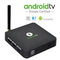 hdmi bluetooth 4.2 großhandel-Ursprüngliches MECOOL Androidtv KM8 ATV Google Sprachsteuerung Smart TV BOX Android 9.0 Amlogic S905X 2 GB DDR3 16 GB Bluetooth 4.2 Set Top Box