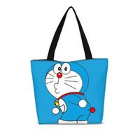 doraemon de moda al por mayor-1 unid Personalizado Bolsas de Compras Ambientales de Lona Bolsa de Hombro Moda Doraemon Cartoon Tote Paquete Casual Bolsos Diseñador