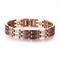 bracelets de santé de qualité achat en gros de-Bracelets magnétiques élégants de santé de cuivre rouge pour l'homme Femmes soulagement de douleur d'arthrite Bracelet de haute qualité d'énergie de bio énergie