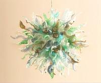 araña de sol al por mayor-Modernas lámparas de araña de cristal de Murano Lámparas colgantes Fade Autumn Sun Chandelier Vidrio soplado Araña LED Lámpara colgante de luz