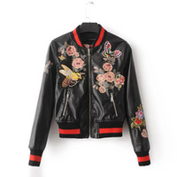 Wholesale Leather Animal Suits - 2017 new type of printing embroidery short baseball suit PU leather jacket of European and ladies jacket jacket