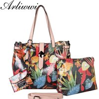 Wholesale bohemian purses - Arliwwi Brand Functional Women Quality PU Leather Shiny Flower Embossed Handbags And Purses Elegant Lady 3 bags together totes
