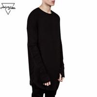 mens t shirt tam kollu toptan satış-Toptan Erkekler Için Başparmak Delik Uzun Tam Kollu Hipster Tee Kpop T-Shirt Katı Hip Hop Sokak T Gömlek Siyah Tutun El Mens Tişörtleri
