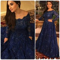 Wholesale light blue wedding dress designs - Dark Navy New Design Mother Of The Bride Dresses 2018 Long Sleeves Sequined Lace A Line Long Formal Wedding Guest Evening Dresses Gowns