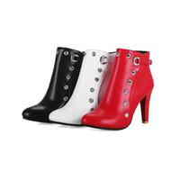 botas de salto alto hip venda por atacado-2018 Botas de hip hop metálico PU feminino zip de salto alto 10 cm rodada toes mulheres ankle boots tamanho 32-48 AYYT88-1