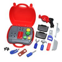 kit de ferramentas de meninos venda por atacado-Simulação clássico Builders Role Play Tool Kit Crianças Meninos Meninos Cosplay Caixa de Ferramentas de Construção DIY Play House Building Kit Toy