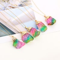 steinsüßigkeit großhandel-Großhandel Halskette Sieben Farbe Naturstein Anhänger Halskette Transparent Candy / Regenbogen Farbe Stein Weibliche Frauen Schmuck Kette H212F
