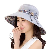 a5b6e65d476 Women Summer Anti-UV Beach Hat Travel Bowknot Big Wide Brim Sun Hat  Reversible Foldable Cap Sun Block Hats Sunscreen Cap